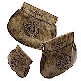 Mittelalterliche Ledertasche in braun mit geprägten Symbolen aus der alten Runen und den...